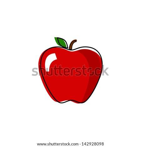 Retro Style Red Apple Illustration - stock vector