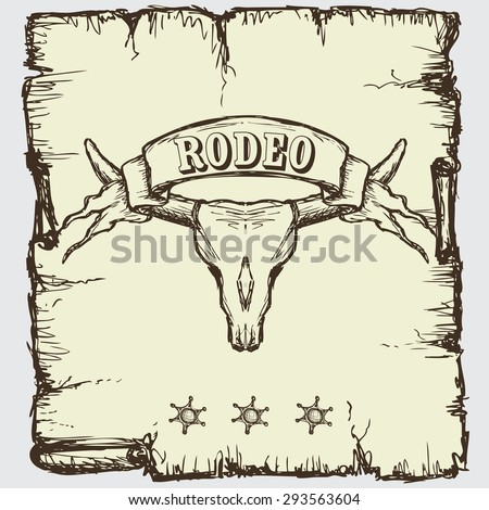 Retro style Rodeo poster with longhorn skull, ribbon banner and sample text on it. Hand drawing, vector - stock vector