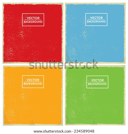 Retro Style Screen Print Background Set in Primary Colors - Design elements for Retro Style Graphic Design - stock vector