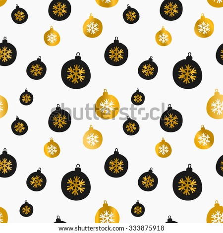 Retro style seamless Christmas pattern with baubles in black and gold on white background. - stock vector