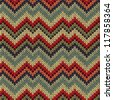Retro Style Seamless Knitted Pattern. Red Blue Brown Yellow Orange Green Color Illustration from my large Collection of Samples of knitted Fabrics - stock vector