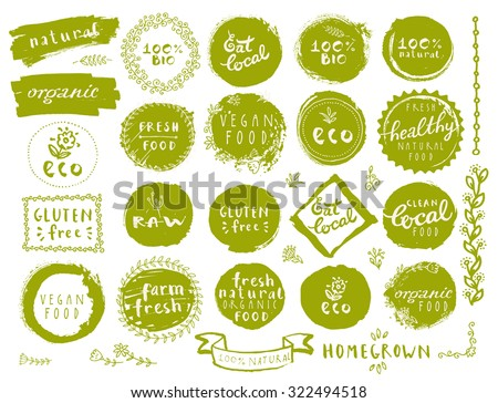 Retro style set of 100% bio, organic, gluten free, eco, healthy food labels. Logo templates with floral and vintage elements in green color for restaurant menu or food package. Vector badges