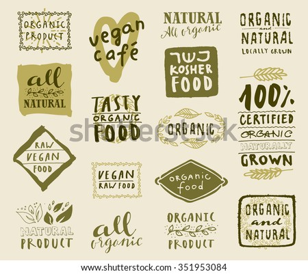 Retro style set of natural, organic and kosher food labels. Hand drawn logo templates with floral and vintage elements for healthy food restaurant menu or package. Vector badges - stock vector
