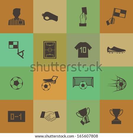 Retro style Soccer football icons vector set. - stock vector