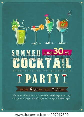 retro style summer cocktail party poster template  - stock vector