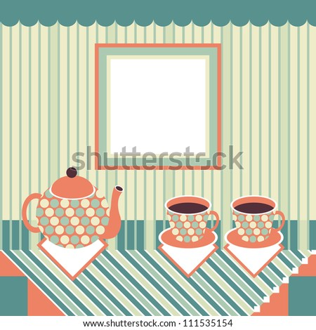 Retro style teapot and two cups standing on table covered with striped tablecloth - stock vector