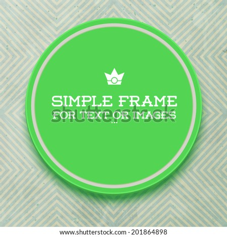 Retro style template. Round empty frame. Sticker on wall - stock vector