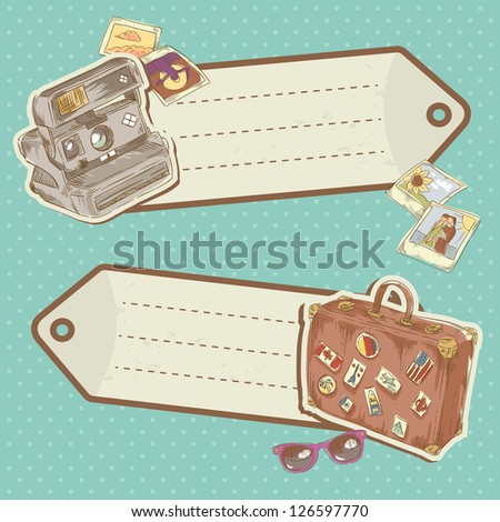 Retro-style Travel discount stickers with bag and photo camera on polka dot background