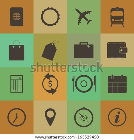 Retro style Travel Icons vector set. - stock vector