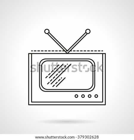 Retro style TV with antenna. Television, media and broadcasting. Vector icon flat thin line style. Element for web design, business, mobile app.  - stock vector
