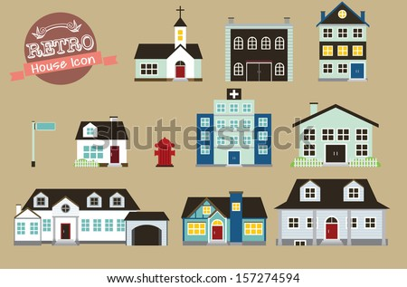 retro style vector collection of various buildings  - stock vector