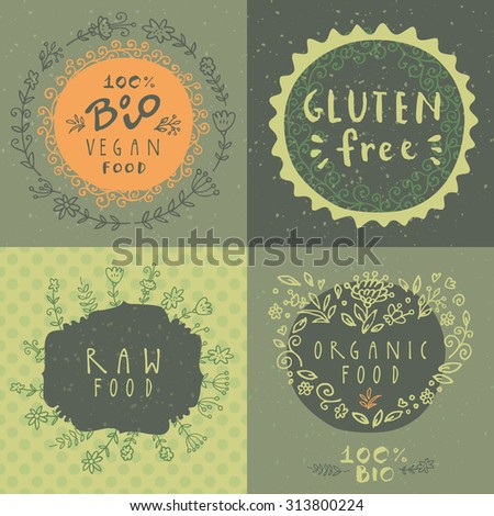 Retro style vector set of 100% bio organic logo label templates with floral and vintage elements: wreaths and frames, heart made of flowers, lettering. For restaurant menu,  logo, package design - stock vector