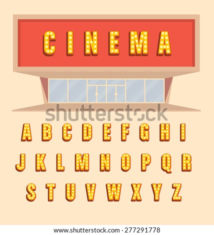 Retro style volumetric signboard letters with light bulbs - Vintage 3d marquee lit up letters full alphabet with shadow - cinema usage illustration - stock vector