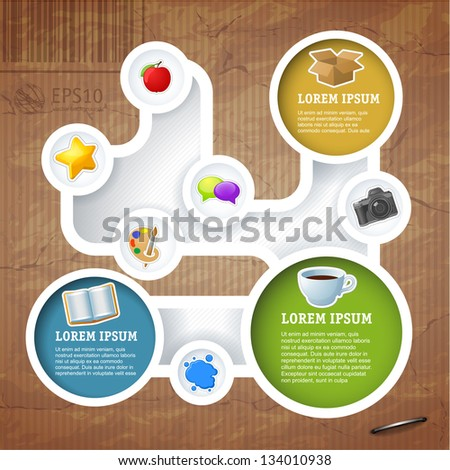 Retro style website loop template, Vector design frame. - stock vector