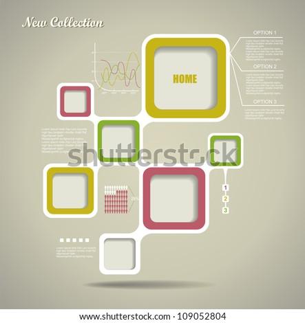 Retro Style Website Template, Vector design frame. - stock vector