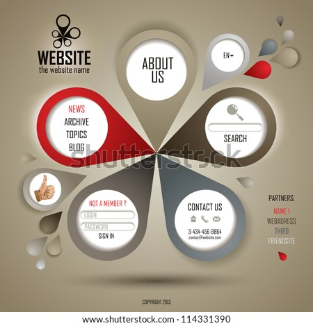 Retro style website template, vector layout. - stock vector