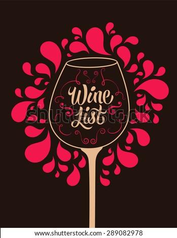 Retro style wine list design. Calligraphic vector illustration. - stock vector