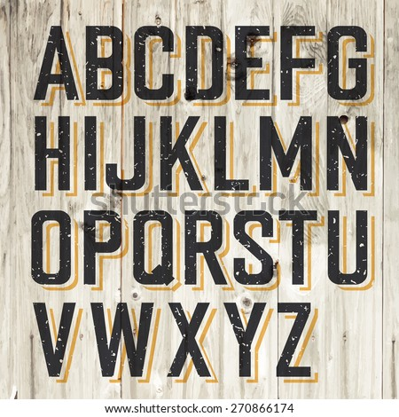 Retro Styled Alphabet on Wooden Background - stock vector