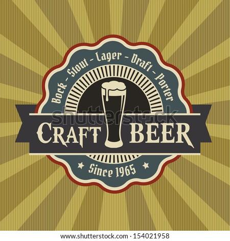 Retro Styled Beer Mug Seal / Label  - stock vector