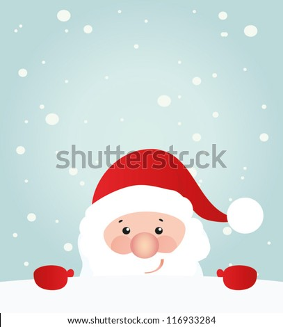 Retro styled Christmas Card with Santa Claus - vector template with copy space - stock vector