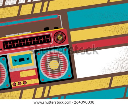 Retro Styled Club Flyer featuring Old School Ghetto Blaster Stereo in Funky Bright Colours - stock vector