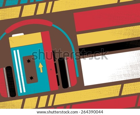 Retro Styled Club Flyer featuring Old School Stereo Walkman Tape Cassette Player in Funky Bright Colours. - stock vector