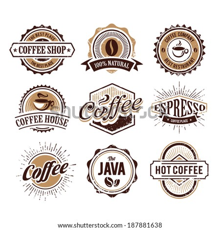 Retro styled coffee emblems vector set isolated on white.