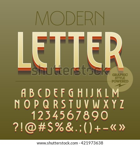 Retro styled 3D Art Deco set of alphabet letters, numbers and punctuation symbols with shadow - stock vector