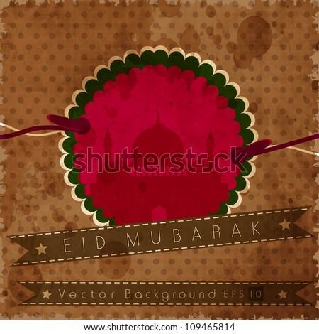 Retro styled Eid Mubarak greeting card. EPS 10. - stock vector