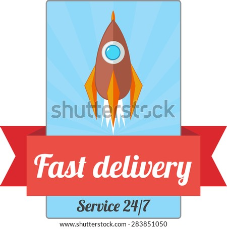 Retro styled emblem of fast delivery with rocket - stock vector