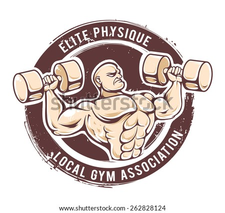 Retro styled fitness man. Grunge gym emblem with muscular dude. Vector art. - stock vector