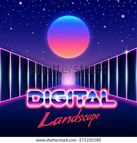 Retro styled futuristic landscape with lettering and shiny corridor gate - stock vector