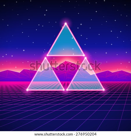 Retro styled futuristic landscape with shiny grid. - stock vector