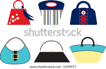Retro styled handbags. Fully editable vector illustration.