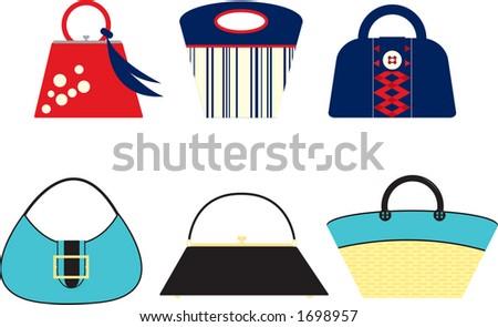 Retro styled handbags. Fully editable vector illustration. - stock vector