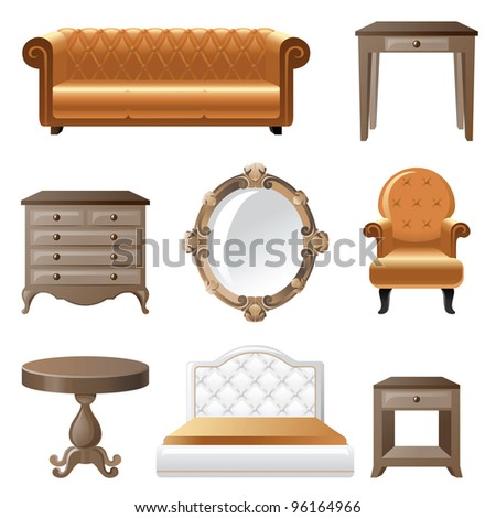 Retro-styled home furniture icons. - stock vector
