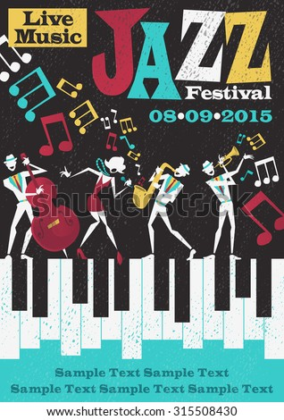 Retro styled Jazz festival Poster featuring an Abstract style illustration of a vibrant Jazz band and cool lead singer who is striking a stylish pose and playing a musical performance live on stage.