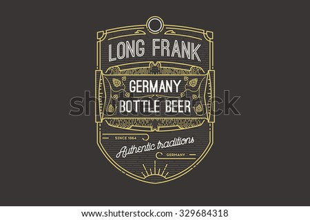 Retro styled label of beer or  brewery on a blackboard.  - stock vector