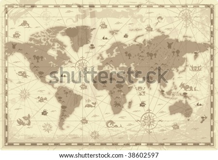 Retro-styled map of the World with mountains and fantasy monsters. Colored in sepia. Vector illustration. - stock vector