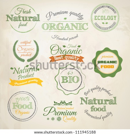 Retro styled Organic Food  labels.Vector - stock vector