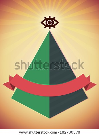 Retro styled poster with all seeing eye and pyramid - stock vector