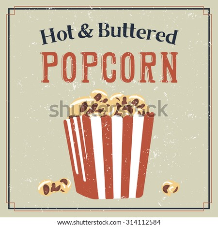Retro styled poster with buttered popcorn in a bag - stock vector