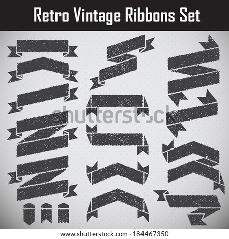 Retro styled ribbons collection Set. - stock vector