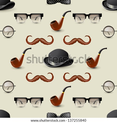 Retro-styled seamless ornament with men accessories - stock vector