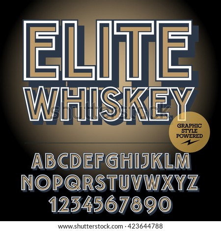 Retro styled set of alphabet letters, numbers and punctuation symbols. Vintage label with text Elite whiskey - stock vector
