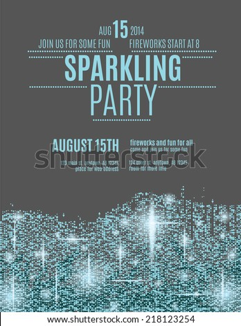 Retro styled sparkling glitter flyer invitation template - stock vector