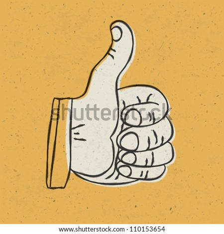 Retro styled thumb up symbol on yellow textured background. Vector illustration, EPS10 - stock vector