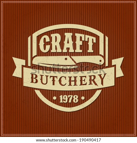 Retro styled vector labels of butcher shop