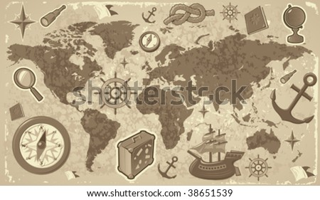 Retro-styled world map with travel and nautical icons. Vector illustration. - stock vector