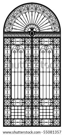 Retro-styled wrought iron portal black silhouette - stock vector